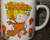 Japan Made Sweet Little Girl and Flowers Mug