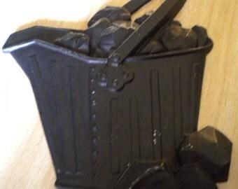Sexton Cast Iron Coal Basket  and Coal Wall Hanging