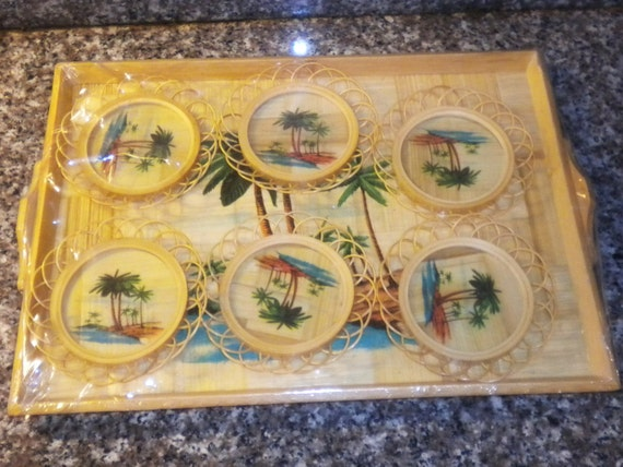 FREE SHIPPING - Vintage Tropical/Hawaiian Serving Tray and 6 Bamboo Coasters NIP
