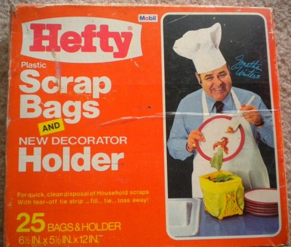 Vtge 1972 Hefty Scrap Bags and Decorative Holder