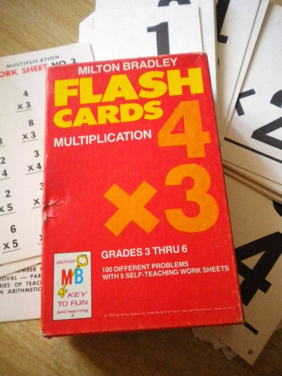 1975 Milton Bradley Flash Cards Multiplication