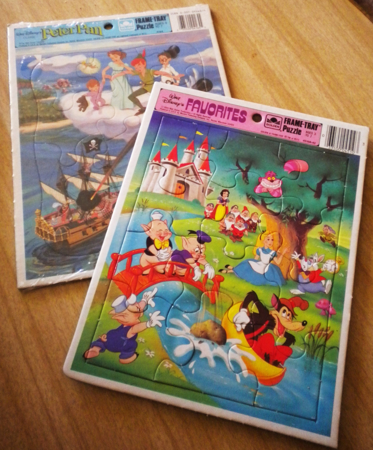 Pair Of 1980s Walt Disney Frame Tray Puzzles Peter Pan And