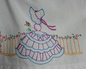 Southern Bell. Girls Spring Dress. Girls Pillowcase Dress. Upcycled Dress. Embroidered Dress.