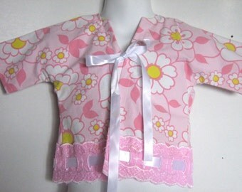 Baby Jacket. Eyelet Kimono Jacket / Cardigan. Retro Lace. Size Medium. 12 Months.Coupon Code 'Recycled' for Free Shipping.
