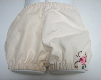 Baby Girl Eco Friendly Clothing. Upcycled Clothing. Upcycled Embroidered Linen  Bloomers. Size 12 Months.