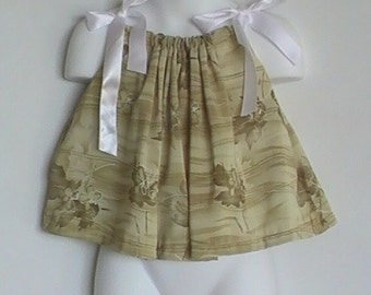 Safari Girl Pillowcase dress / top Size newborn, 6 month, 8 month, 12 month, Length 11 inches.