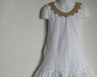 Toddler Girl Upcycled Dress. Pillowcase Dress. Mermaid. Crochet Lace Size 3T, 4T.