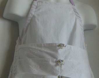 Girls Pinafore Apron. Medeira Cutwork. Vintage Embroidery. Size 18 month to 4TCoupon Code 'Recycled' for Free Shipping.