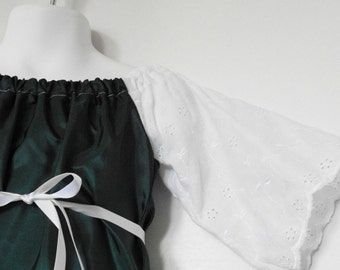 Boutique Peasant Dress. Girls Peasant Dress. Baby Girl Upcycled Clothing. Green and White Dress. Size 12 Months