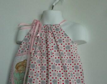 Girl Easter Dress. Children Clothing. Girls Valentine Dress. Toddler Easter Dress. Pillowcase Dress. Repurposed clothing.
