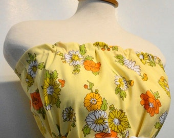 Cotton Dress. Summer Dress. Spring Dress.  Upcycled Dress Women. Tunic Dress.Bright Yellow. Cotton Summer Dress.