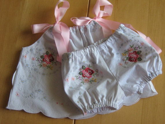 Delicious Hand Embroidered Upcycled Baby Outfit Size Newborn to 6 Month.
