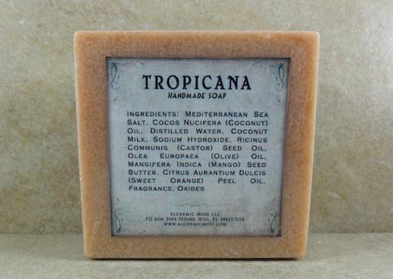 Tropicana - Mediterranean Sea Salt Soap - Plumeria Blossoms, Sweet Orange, Vanilla Musk