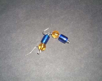 Blue and Amber Earrings