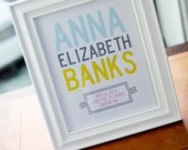 Bold and Modern Typography Birth Announcement Poster