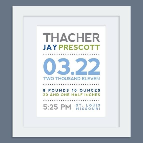 Modern Typography Birth Announcement - 8x10 Print