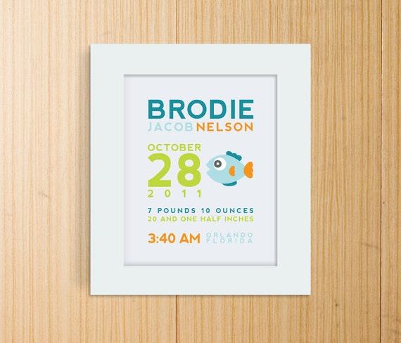 Custom Birth Announcement Print - FISH Wall Art