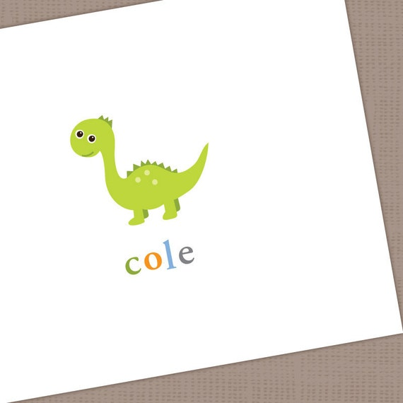 Personalized Dinosaur Note Cards