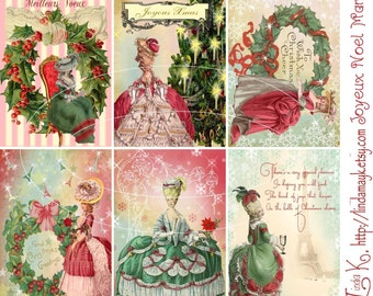Digital Scrapbooking-Collage Sheet-Digital Card-Digital Image....Joyeaux Noel Marie Collage Sheet