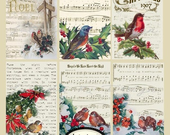 Christmas Birds --Digital Scrapbooking-Collage Sheet-Digital Card-Digital Image