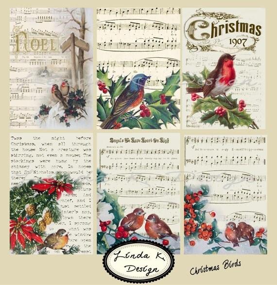 Christmas Birds --Digital Scrapbooking-Collage Sheet-Digital Card-Digital Image