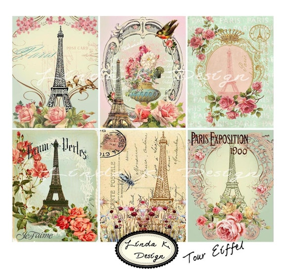 Digital Scrapbooking-Collage Sheet-Digital Card-Digital Image......Collage Sheet...Tour Eiffel