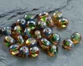 50 Czech Glass Beads 8mm Smoky Green 3 Sided