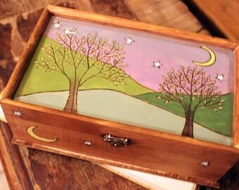 Night Forest Woodburned Jewelry Box