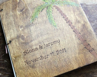 Custom Wedding Guest Book -Palm Tree