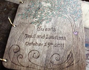 Custom Wedding Guest Book - Tree rustic wedding guest book wedding sign in book shower book wedding memory book wedding reception book