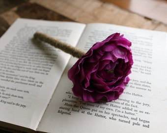 Rustic Guest Book Pen- Purple Ranunculus