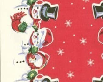 FABRIC KITCHEN TOWELING Just Like Granny Made Snowmen 1 Yard