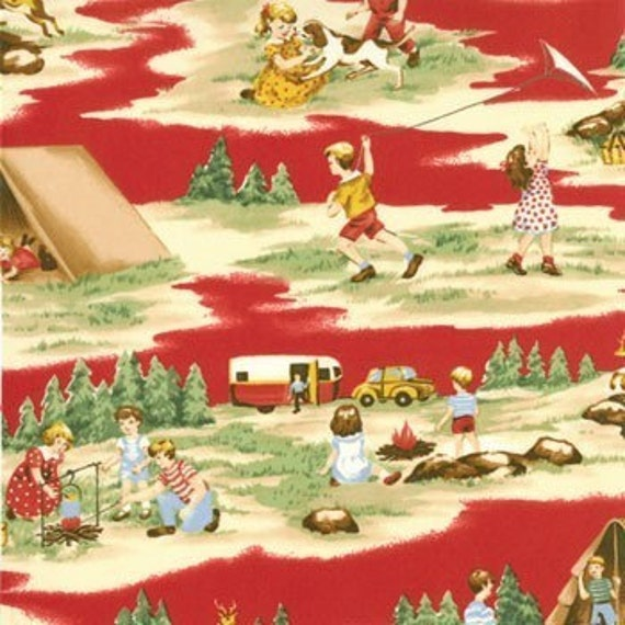 Vintage Style Happy Campers Fabric Moda Red All Over Camping