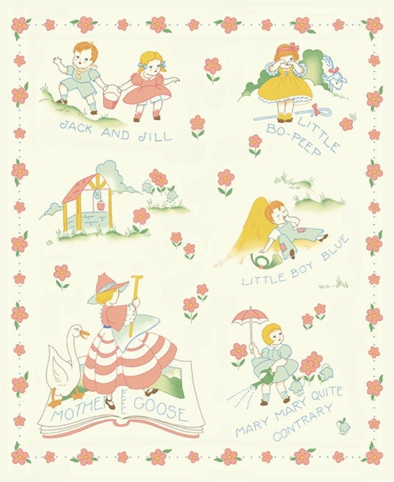 Vintage Style 1930s Reproduction Baby Nursery Rhyme Quilt
