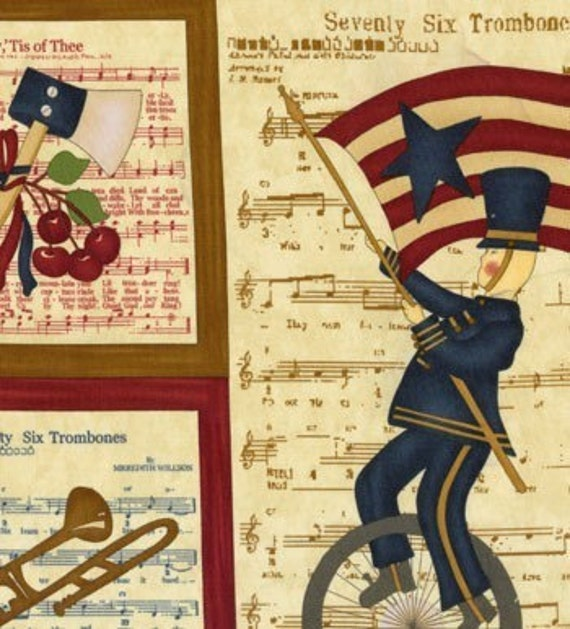 Retro 76 TROMBONES in the big Parade July 4th OOP  FABRIC