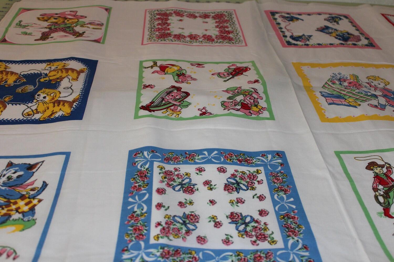End of bolt fabric retro children 39 s hankies handkerchiefs for Retro childrens fabric