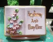 SALE//vintage happy birthday and many more planter, desk organizer