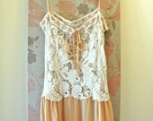 REDUCED from 115 to 80  1 week only Creamed Peaches Silk and Lace Crochet Bohemian Dress