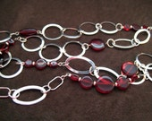 Garnet and Silver Long Necklace