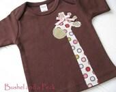 Girlie Giraffe Applique on Chocolate Short Sleeve Lap Tee - Custom Size