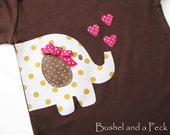 Girlie Elephant Applique on Chocolate Short Sleeve Lap Tee - Custom Size