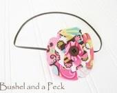 Caterpillar Craze Patchwork Fabric and Felt Flower on Petite Elastic Headband - Custom Size