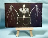 Vampire Skeleton Fabric Postcard Home made in USA