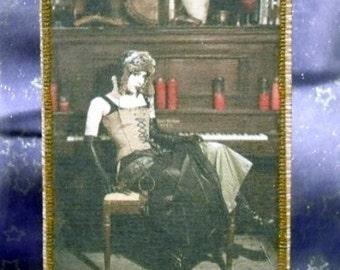 Steampunk Bar Maid Homemade Fabric Postcard