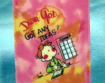 Dear God Got Any Ideas Homemade America Fabric Postcard