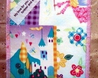 My love for you is a journey Quilted Fabric Postcard