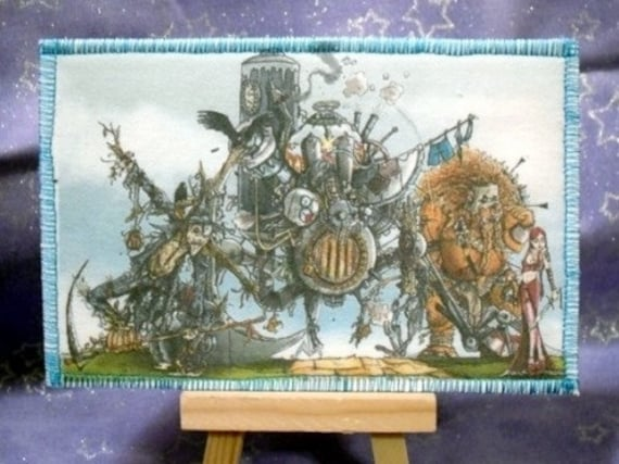 Steam-punk Land of Oz homemade fabric postcard
