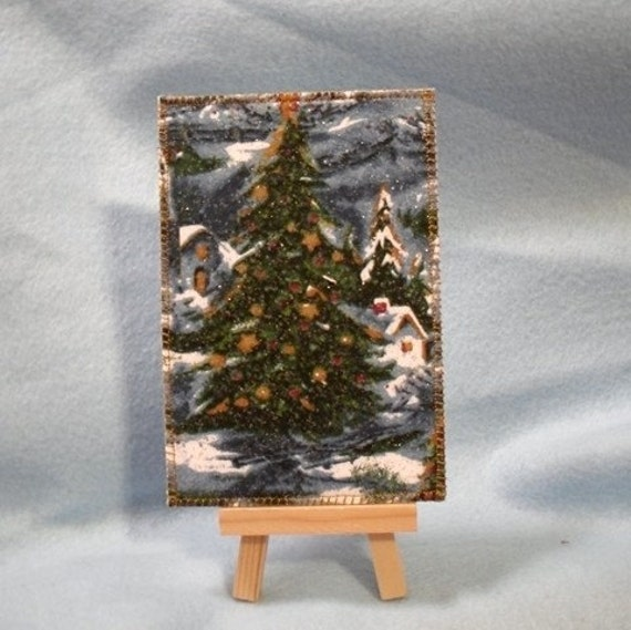 Christmas Country Winter Quilted Fabric Postcard Made in the USA