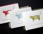 Purrrfect Letterpress Holiday Cards - variety set of 3