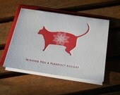 Red Purrrfect Letterpress Holiday Card - set of 3